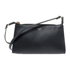 Fendi Black Leather Pochette Crossbody Bag
