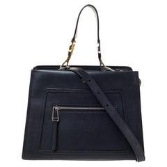 Fendi Black Leather Runaway Top Handle Bag