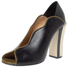 Fendi Black Leather Scallop Trim Open Toe Pumps Size 39
