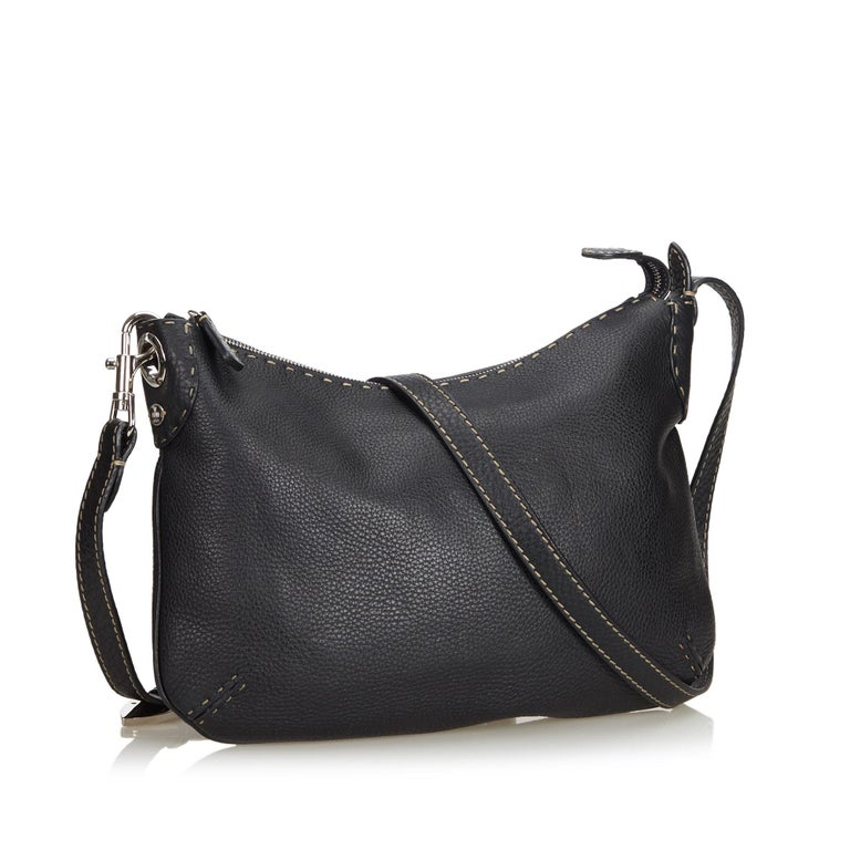 1989ddbb97a6 Fendi Black Leather Selleria Crossbody Bag at 1stdibs