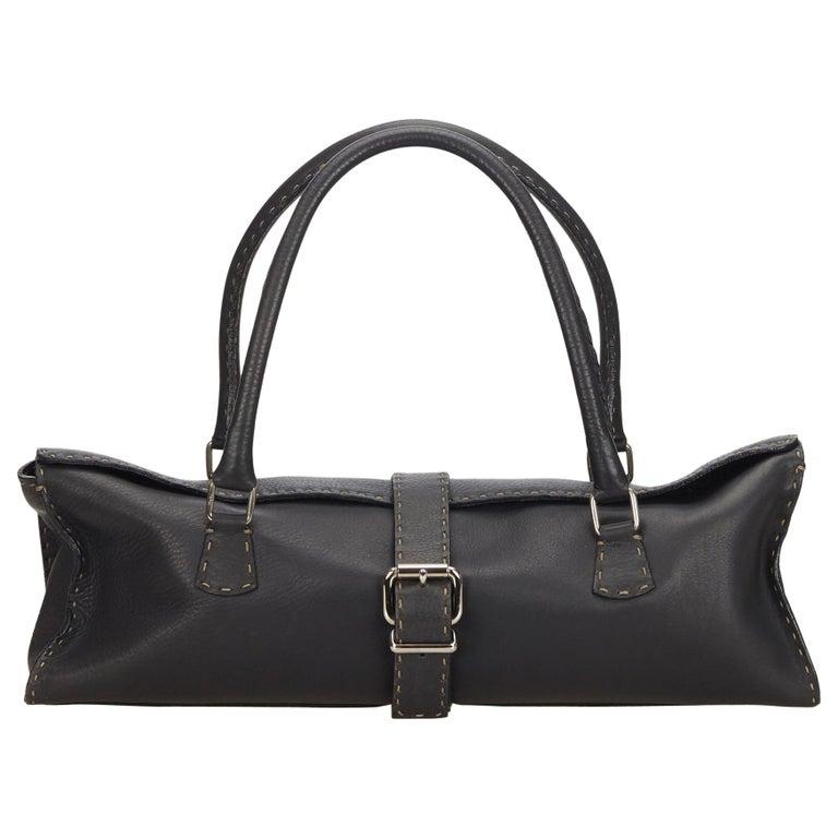 ac9a070e5c Fendi Black Leather Selleria Shoulder Bag at 1stdibs
