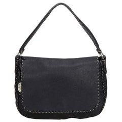 Fendi Black Leather Selleria Shoulder Bag