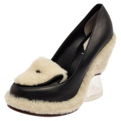 Fendi Black Leather Shearling Wedge Pumps Size 40