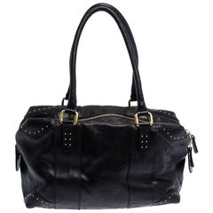 Fendi Black Leather Studded Satchel
