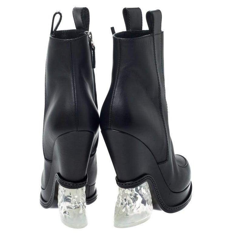 Women's Fendi Black Leather Wedge Lucite Heel Platform Boots Size 40 For Sale