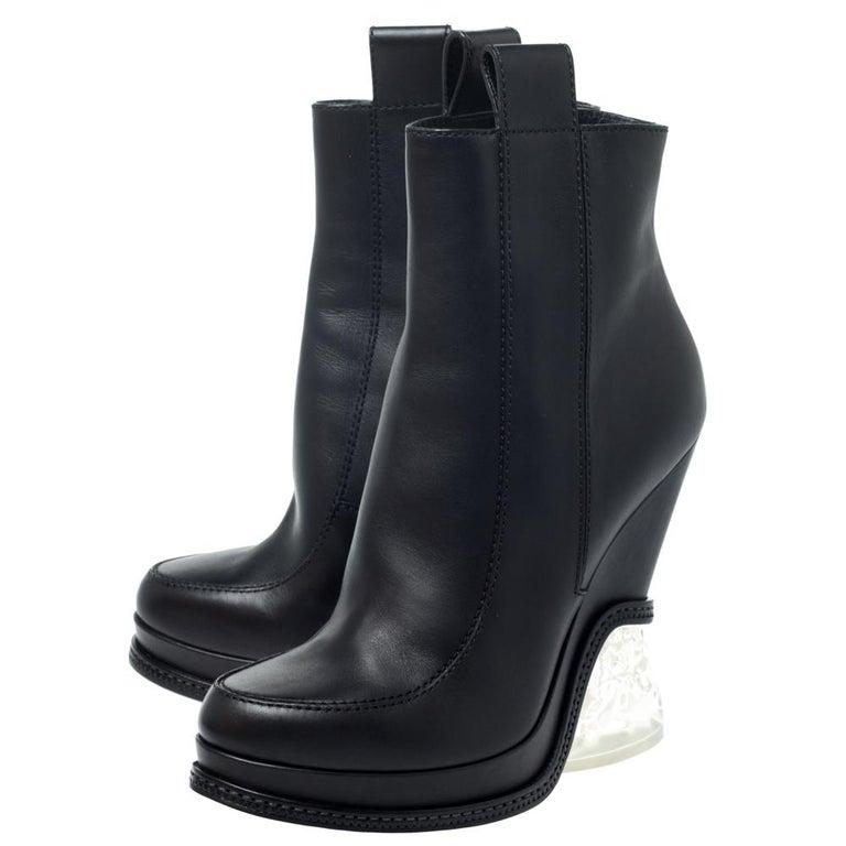 Fendi Black Leather Wedge Lucite Heel Platform Boots Size 40 For Sale 1