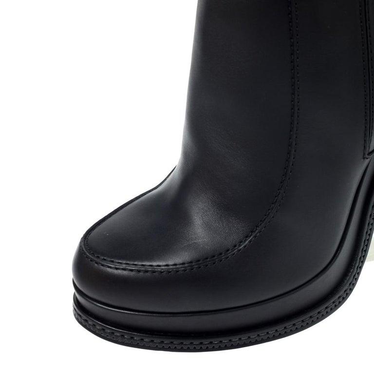 Fendi Black Leather Wedge Lucite Heel Platform Boots Size 40 For Sale 2