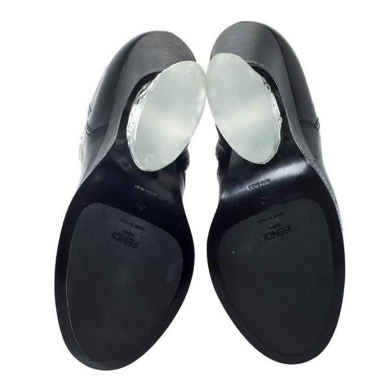 Fendi Black Leather Wedge Lucite Heel Platform Boots Size 40 For Sale 3