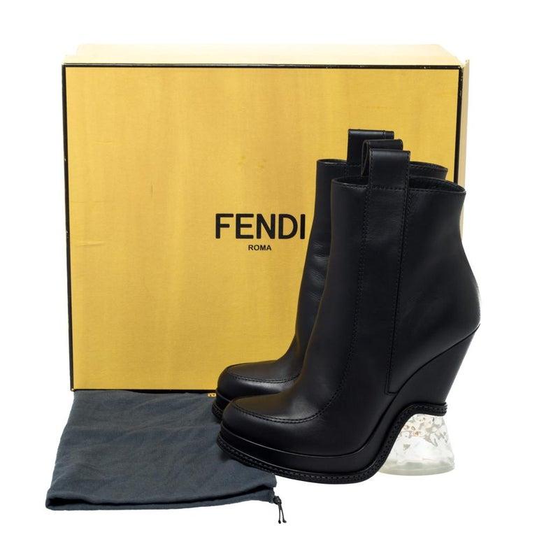 Fendi Black Leather Wedge Lucite Heel Platform Boots Size 40 For Sale 4