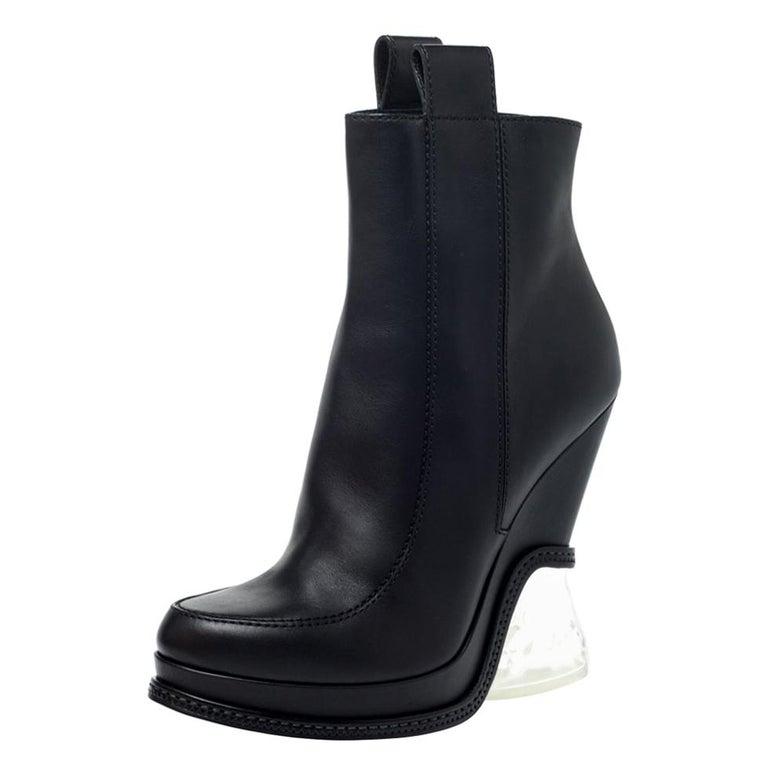 Fendi Black Leather Wedge Lucite Heel Platform Boots Size 40 For Sale