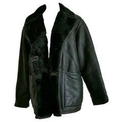 FENDI black leather brown stitched stripes shearling collar coat - Unworn, New
