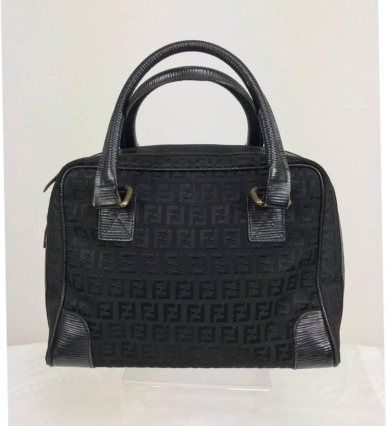 Fendi black logo canvas and leather handbag 1970s For Sale 6
