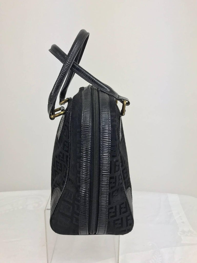 Fendi black logo canvas and leather handbag 1970s In Excellent Condition For Sale In West Palm Beach, FL