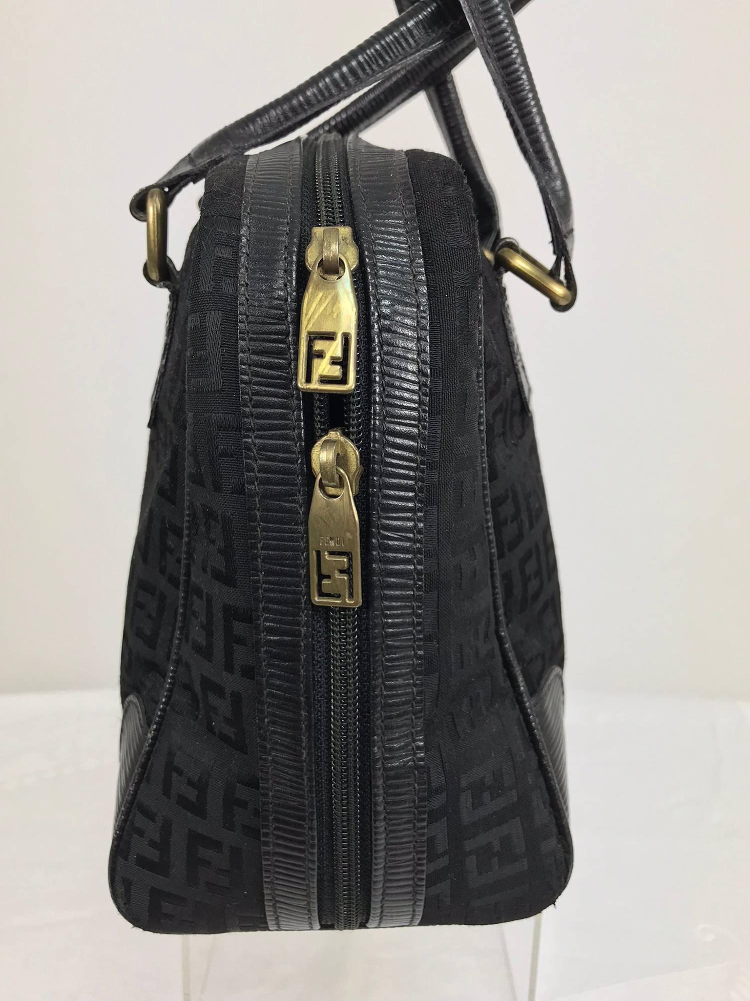 Fendi Black Logo Canvas And Leather Handbag 1970s 9ChmorWSk