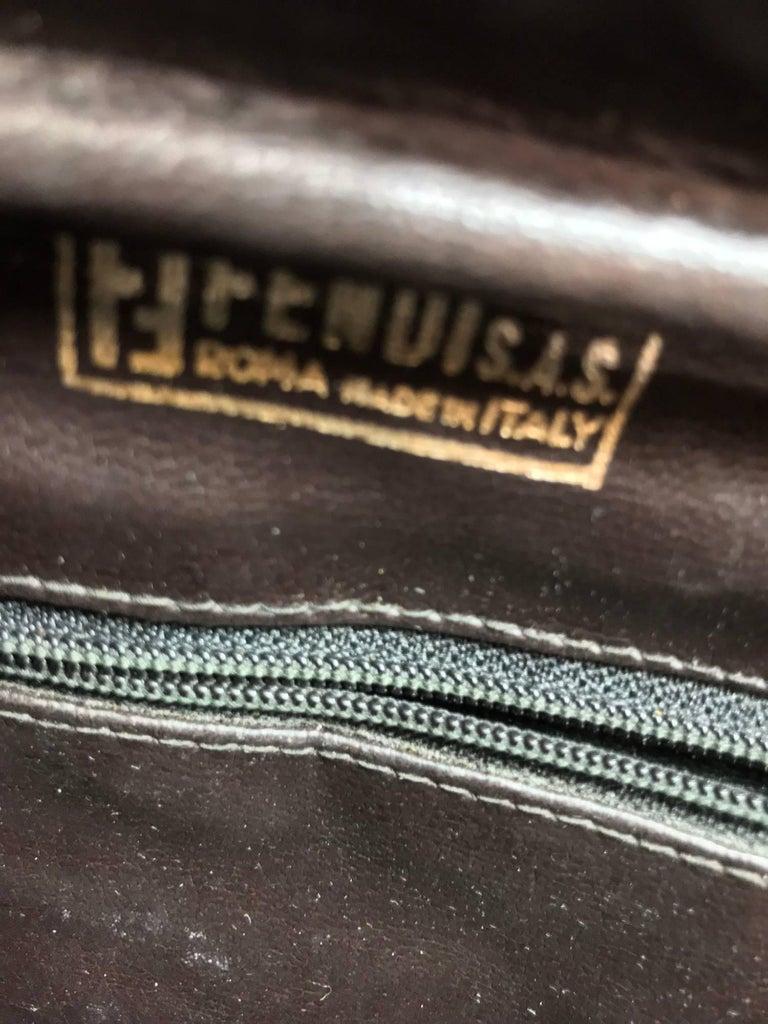 Fendi black logo canvas and leather handbag 1970s For Sale 4