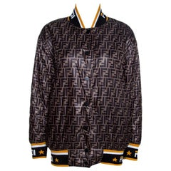 Fendi Black Logo Print Silk Reversible Quilted Bomber Jacket S