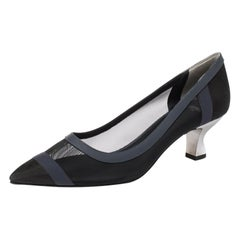 Fendi Black Mesh And Blue Leather Trim Colibri Pointed Toe Pumps Size 40