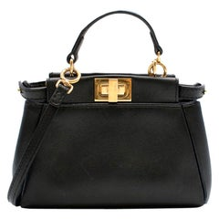 Fendi Black Micro Peekaboo Leather Shoulder Bag
