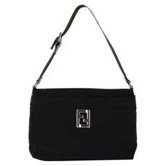 Fendi Black Monogram Canvas Shoulder Bag with Logo