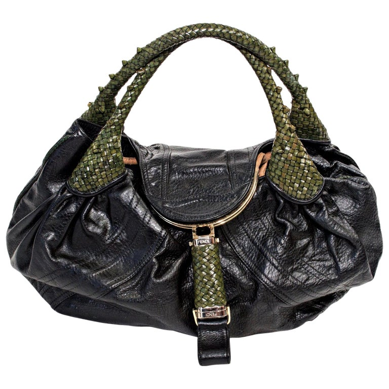 Fendi Black Nappa Leather Spy Bag For Sale