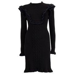 FENDI black & navy RUFFLE TRIM RIB KNIT Long Sleeve Dress S
