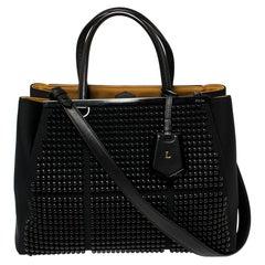 Fendi Black Neoprene and Leather Black Studded Medium 2Jours Tote