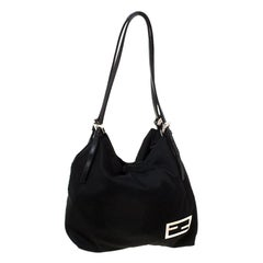 Fendi Black Neoprene Fabric Tote