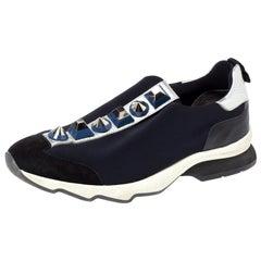 Fendi Black Neoprene Studded Slip On Sneakers Size 39