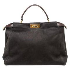 Fendi Black Nubuck Large Peekaboo Satchel Bag