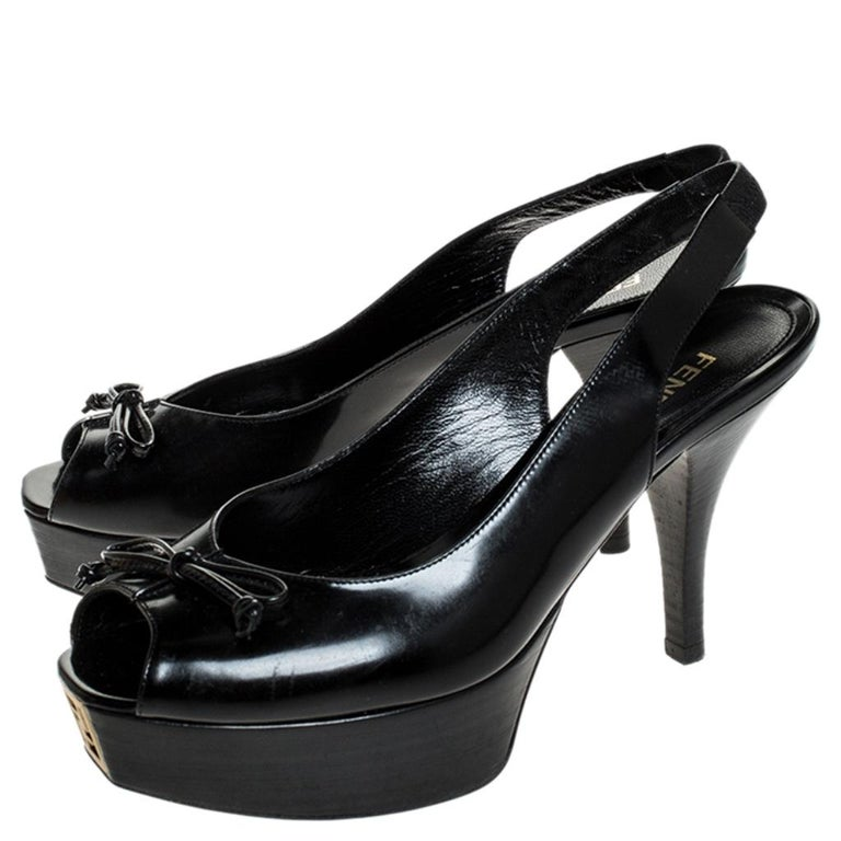 Women's Fendi Black Patent Fendista Slingback Platform Sandals Size 37.5 For Sale