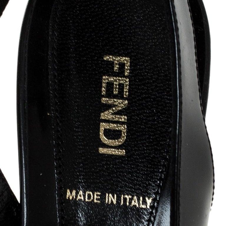 Fendi Black Patent Fendista Slingback Platform Sandals Size 37.5 For Sale 3