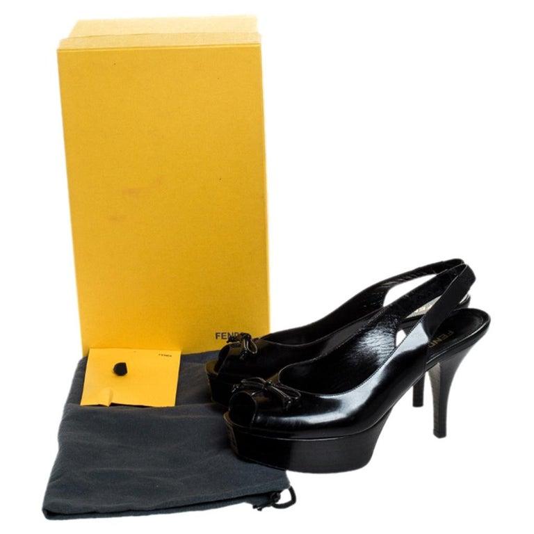 Fendi Black Patent Fendista Slingback Platform Sandals Size 37.5 For Sale 4