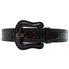 Fendi Black Patent Leather Copper Belt