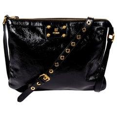 Fendi Black Patent Leather Handbag W Dust Bag Original Tag & Authenticity Card