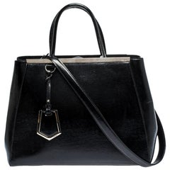 Fendi Black Patent Leather Medium 2jours Tote
