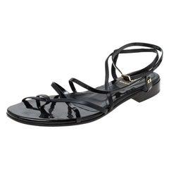 Fendi Black Patent Leather Strapped Flat Sandals Size 38