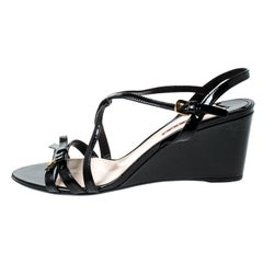 Fendi Black Patent Leather Strappy Open Toe Wedge Sandals Size 41