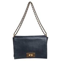 Fendi Black Pequin Stripe Leather Large Claudia Shoulder Bag