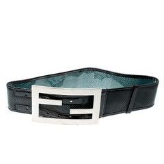 Fendi Black Perforated Leather Wide Belt 70cm