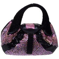 Fendi Black/Pink Sequins,Satin and Velvet Spy Hobo