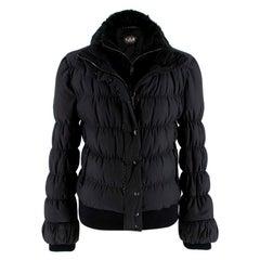 Fendi Black Puffer Jacket w/ Goat Fur Trim XS 40