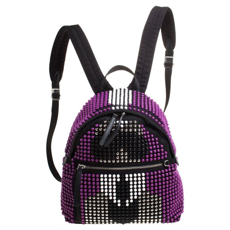 Fendi Black/Purple Nylon Karl Beaded Backpack