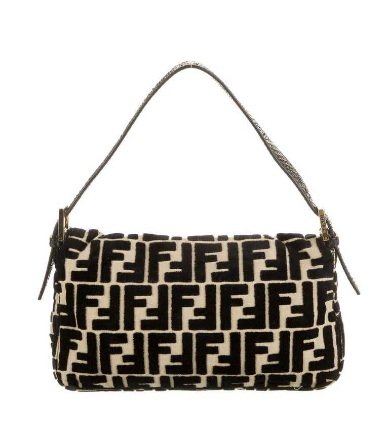 Fendi Black Python Tan Velvet Logo Zucca Gold Baguette Evening Shoulder Flap Bag In Excellent Condition For Sale In Chicago, IL