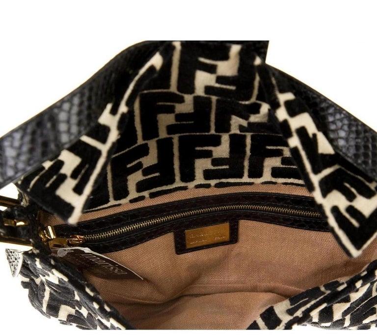 Women's Fendi Black Python Tan Velvet Logo Zucca Gold Baguette Evening Shoulder Flap Bag For Sale