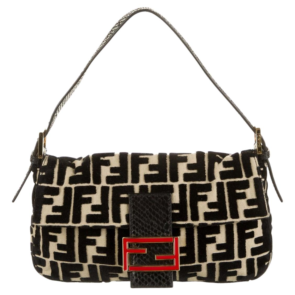 Fendi Black Python Tan Velvet Logo Zucca Gold Baguette Evening Shoulder Flap Bag