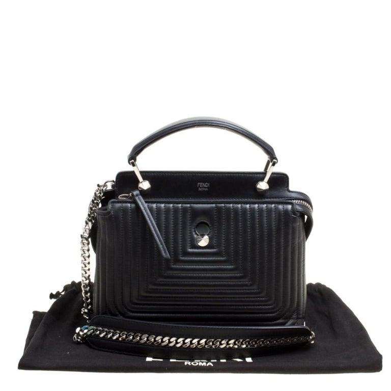 Fendi Black Quilted Leather Dotcom Click Shoulder Bag For Sale 9