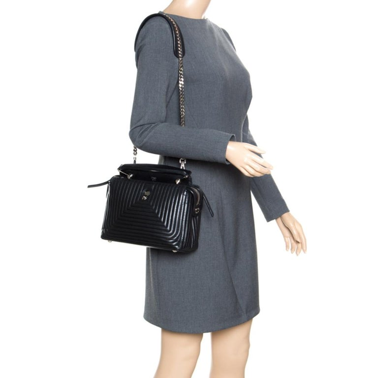 Fendi Black Quilted Leather Dotcom Click Shoulder Bag In Good Condition For Sale In Dubai, Al Qouz 2