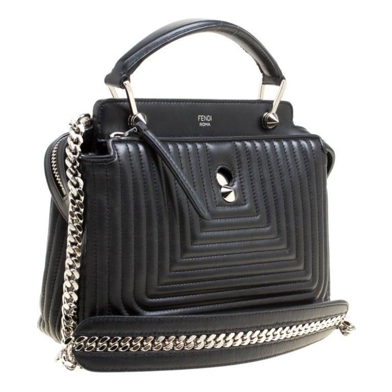 Women's Fendi Black Quilted Leather Dotcom Click Shoulder Bag For Sale