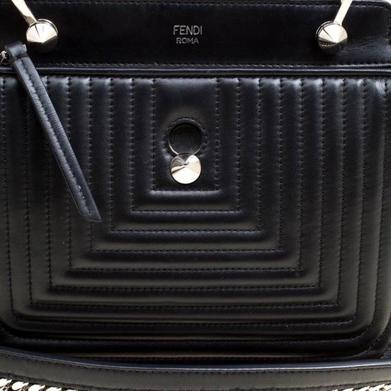 Fendi Black Quilted Leather Dotcom Click Shoulder Bag For Sale 2