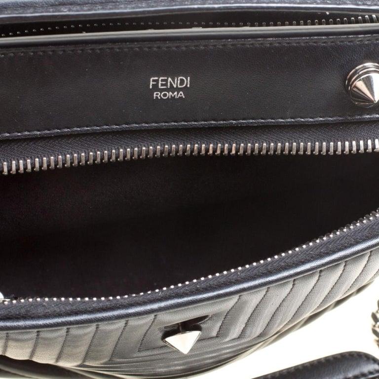 Fendi Black Quilted Leather Dotcom Click Shoulder Bag For Sale 4
